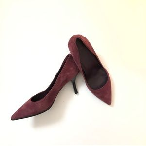 BCBG Paris Pointy Toe Suede Heels Maroon Size 7.5